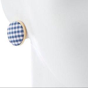 NWOT Kate Spade Gingham Button Stud Earrings